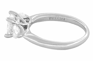 Ritani 1 Carat Princess and Heart Shaped Diamonds 3 Stone Engagement Ring in Platinum - 1.60 Carats Total Diamond Weight - Click to enlarge