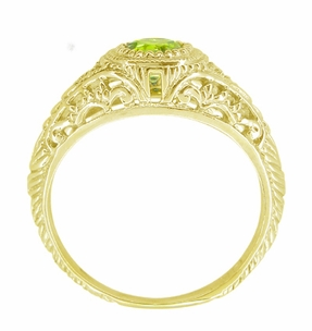 Art Deco Engraved Peridot and Diamond Filigree Engagement Ring in 18 Karat Yellow Gold - Click to enlarge