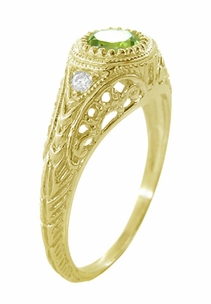 Art Deco Engraved Peridot and Diamond Filigree Engagement Ring in 18 Karat Yellow Gold - Item R138YPER - Image 3