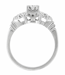 Retro Moderne Starburst Galaxy White Sapphire Engagement Ring in 14 Karat White Gold - Item R481WS - Image 1