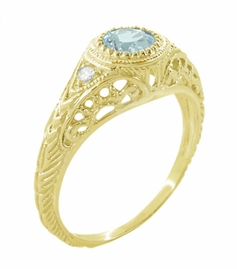 Art Deco Engraved Filigree Aquamarine and Diamond Engagement Ring in 18 Karat Yellow Gold - Item R138YA - Image 1