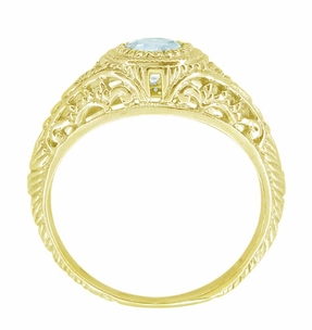 Art Deco Engraved Filigree Aquamarine and Diamond Engagement Ring in 18 Karat Yellow Gold - Click to enlarge