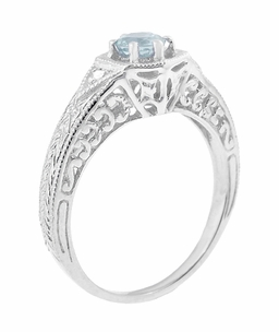 Art Deco Aquamarine and Diamond Filigree Engraved Engagement Ring in Platinum - Click to enlarge