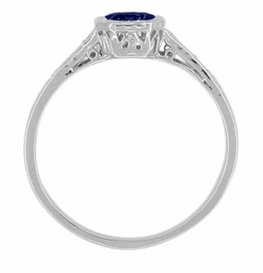 Art Deco Filigree Blue Sapphire and Diamond Engagement Ring in 18 Karat  White Gold - Item R298WS - Image 1