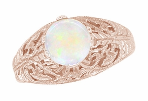 Opal Filigree Ring in 14 Karat Rose ( Pink ) Gold - Item R137RO - Image 2