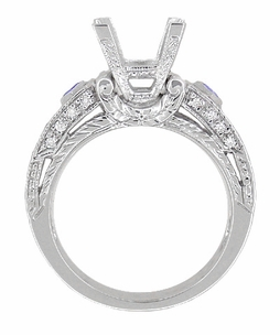 Art Deco 1 Carat Princess Cut Diamond Wheat Engraved Engagement Ring Setting in 18 Karat White Gold with Diamonds and Princess Cut Sapphires - Click to enlarge