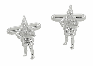 Trojan Warrior Cufflinks in Sterling Silver - Item SCL205 - Image 1