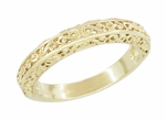 Filigree Flowing Scrolls Wedding Ring in 14 Karat Yellow Gold