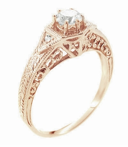 Art Deco 1/3 Carat Diamond 14 Karat Rose ( Pink ) Gold Filigree Engraved Engagement Ring  - Item R407R - Image 1