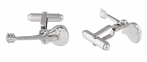 Electric Guitar Cufflinks in 925 Sterling Silver - Item SCL226 - Image 1
