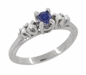 Blue Sapphire and Diamond Vintage Ring in 18 Karat White Gold - Click to enlarge