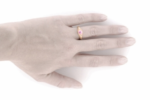 Art Deco Engraved Pink Sapphire and Diamond Filigree Engagement Ring in 14 Karat Rose Gold - Item R138RPS - Image 4