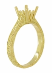 Art Deco 1 - 1.50 Carat Crown Scrolls Filigree Engagement Ring Setting in 18K Yellow Gold
