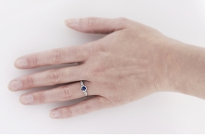 Art Deco Filigree Blue Sapphire and Diamond Engagement Ring in 18 Karat  White Gold - Item R298WS - Image 2