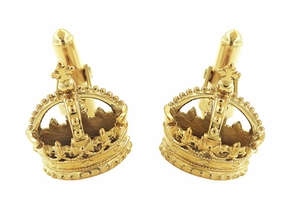 Royal Crown Cufflinks in Sterling Silver with Yellow Gold Vermeil - Item SCL241Y - Image 1