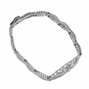 Art Deco Marquise Sapphire and Diamond Filigree Bracelet in 14 Karat White Gold - Click to enlarge