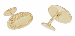Victorian Scrolls Engravable Cufflinks in Sterling Silver with Yellow Gold Vermeil - Item SCL238Y - Image 1