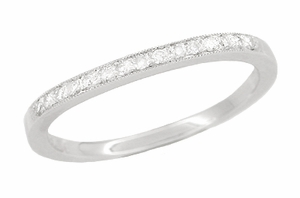 Diamond Set Curved Wedding Band in 18 Karat White Gold