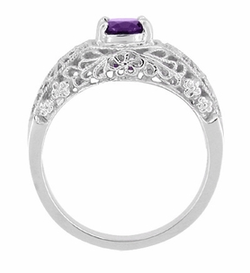 Edwardian Floral Filigree Amethyst Dome Engagement Ring in 14 Karat White Gold - Click to enlarge