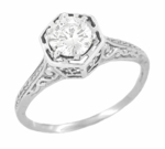 Art Deco White Sapphire Filigree Engagement Ring in 14 Karat White Gold