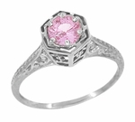 Art Deco Pink Sapphire Filigree Engagement Ring in 14 Karat White Gold