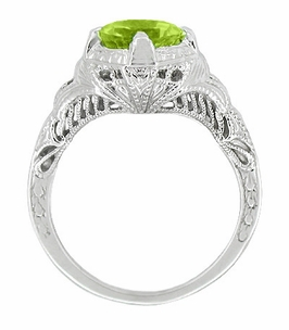 Art Deco Engraved Filigree Peridot Engagement Ring in Sterling Silver - Click to enlarge