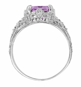Edwardian Filigree Emerald Cut Amethyst Ring in Sterling Silver - Click to enlarge