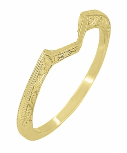 Art Deco Filigree Scrolls Engraved Contoured Wedding Band in 14 Karat Yellow Gold - Item WR180Y - Image 2