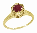 Art Deco Ruby Filigree Engagement Ring in 14 Karat Yellow Gold - July Birthstone