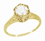 Art Deco Filigree Engraved Diamond Engagement Ring in 14 Karat Yellow Gold