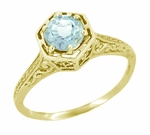 Art Deco Aquamarine Engraved Scrolls Filigree Engagement Ring in 14 Karat Yellow Gold