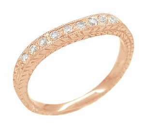 Art Deco Curved Engraved Wheat Diamond Wedding Band in 14 Karat Pink ( Rose ) Gold - Item R635RD - Image 1
