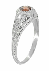 Art Deco Engraved Almandite Garnet and Diamond Filigree Engagement Ring in 14 Karat White Gold - Item R138WAG - Image 2