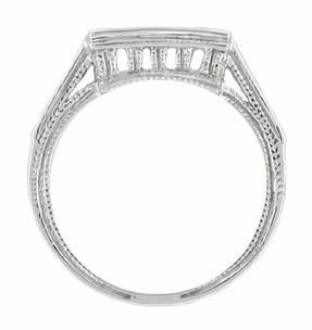Art Deco Diamond Filigree Contoured Wedding Ring in Platinum - Item WR239 - Image 1