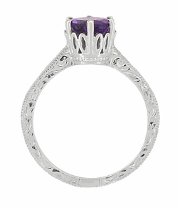 Art Deco Crown Filigree Scrolls Amethyst Engagement Ring in 18 Karat White Gold - Item R199WAM - Image 3