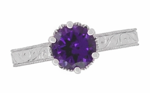 Art Deco Crown Filigree Scrolls Amethyst Engagement Ring in 18 Karat White Gold - Click to enlarge