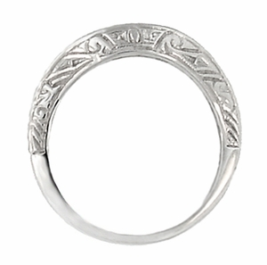 Art Deco Curved Engraved Scrolls Wedding Ring in Platinum - Item R1137P - Image 1