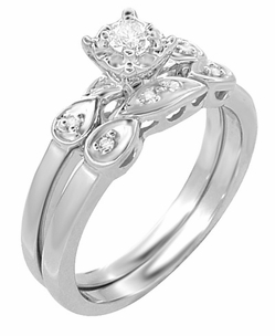 Retro Moderne Diamond Engagement Ring and Wedding Ring Set in 14 Karat White Gold - Click to enlarge