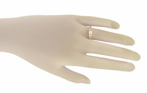 Art Deco Filigree Diamond Engagement Ring in 14 Karat Rose ( Pink ) Gold - Item R640R - Image 3