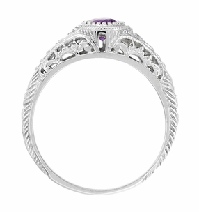 Art Deco Engraved Amethyst and Diamond Filigree Engraved Engagement Ring in 14 Karat White Gold - Item R138AM - Image 2