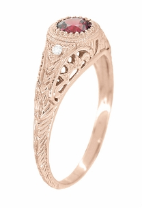 Art Deco Engraved Rhodolite Garnet and Diamond Filigree Engagement Ring in 14 Karat Rose ( Pink ) Gold - Item R138RG - Image 1