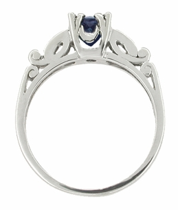 Sapphire and Diamonds Scroll Art Deco Engagement Ring in Platinum - Click to enlarge