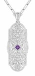Art Deco Amethyst and Diamonds Floral Filigree Pendant Necklace in Sterling Silver