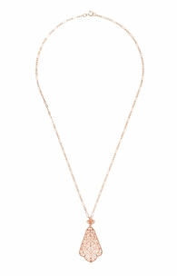 Edwardian Rose Gold Vermeil Scalloped Leaf Dangling Filigree Pendant Necklace  - Click to enlarge