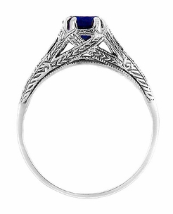 Art Deco Blue Sapphire Filigree Engraved Engagement Ring in Sterling Silver - Click to enlarge