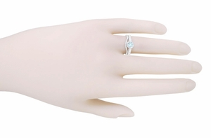 Art Deco Filigree Aquamarine and Diamond Engagement Ring in Platinum - Item R298PA - Image 3