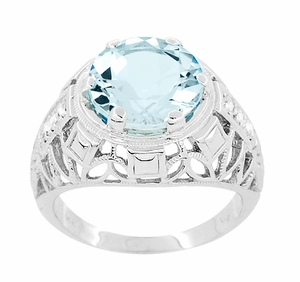 Art Deco Filigree Aquamarine and Diamonds Dome Ring in 14 Karat White Gold - Item R800WA - Image 1