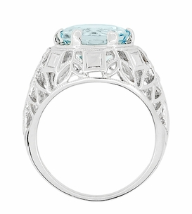 Art Deco Filigree Aquamarine and Diamonds Dome Ring in 14 Karat White Gold - Item R800WA - Image 3