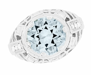 Art Deco Filigree Aquamarine and Diamonds Dome Ring in 14 Karat White Gold - Click to enlarge
