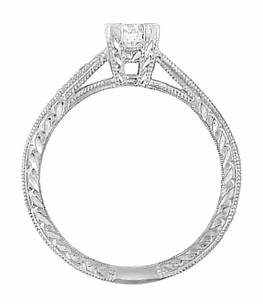 Art Deco Engraved Diamond Engagement Ring in Platinum - Click to enlarge